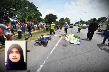 Motorcycle pillion rider run over by truck