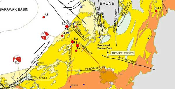 The Seismotectonic of Sarawak showing the earthquake epicentres with magnitudes of 5.2 and 4.2 located on the Tubau and Tinjar Faults, respectively, and the proposed Baram Dam.