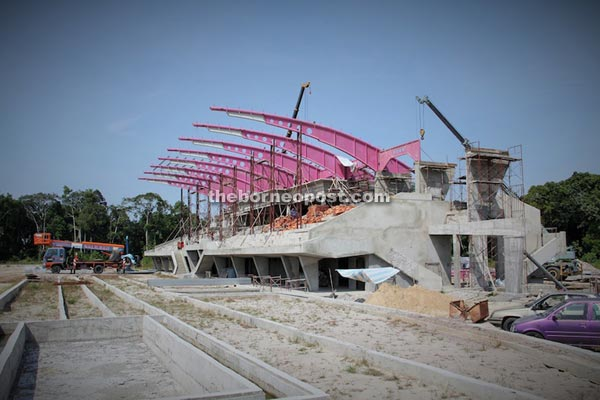 The near-completed sports complex of Mukah.