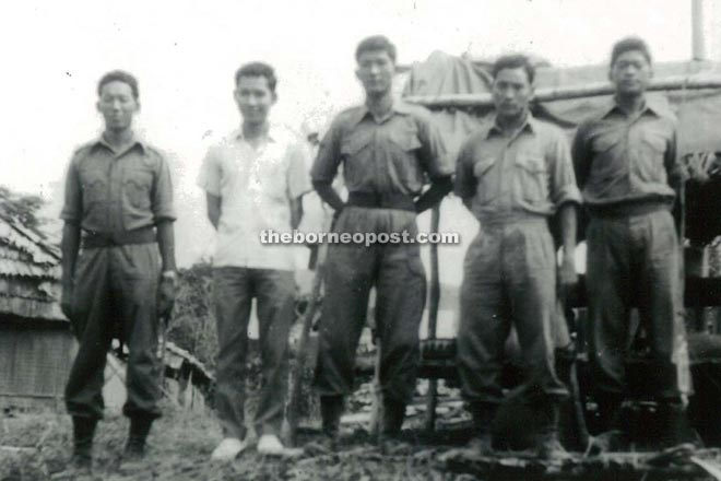 Gurkhas soldiers and PFF at Long Jawi guarding during 1963 elelction and also the confrontation 1963. Lim (2nd left).