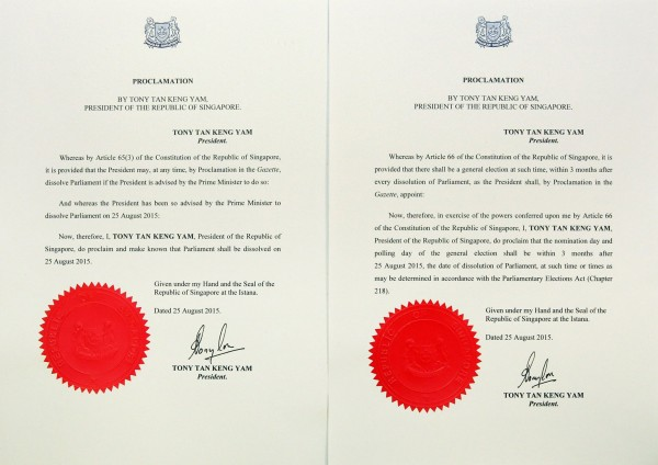Writ of Election issued by President Tony Tan Keng Yam was revealed at 4pm on August 25.