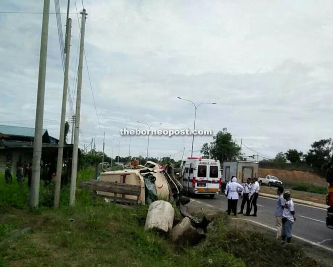 The ambulance skidded and overturned after hitting the Viva.