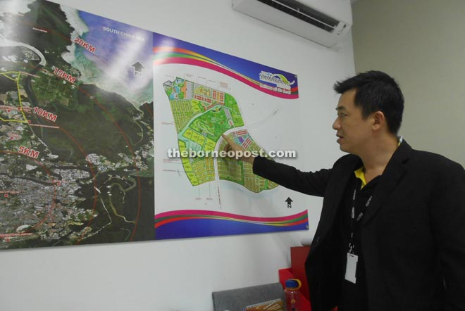 Yoong showing the project plan at his office in Semariang yesterday.
