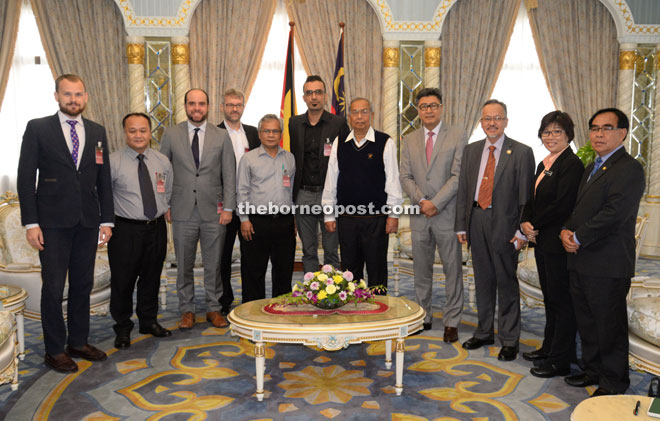 Adenan (fifth right) is seen with (from left) May-Tobin, Harrison, Hurowitz, Ranum, Mujah, Upreshal, Sudarsono, Sapuan, Lulie and Sajeli.