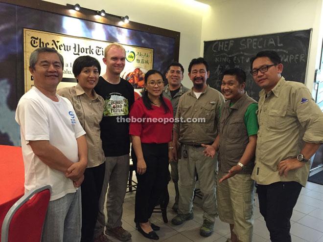 Noah (third from left) with Sandakan Borneo Bird Club members and Sabah Tourism representatives.