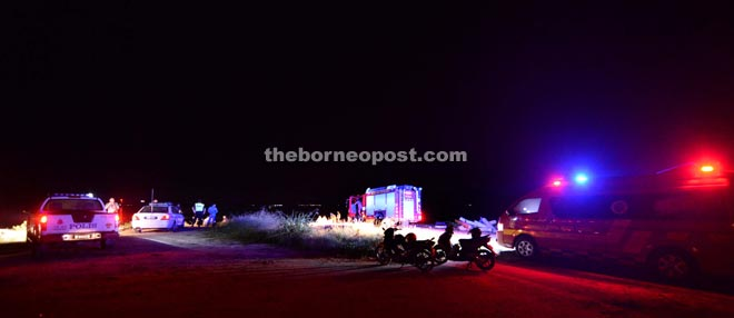 Rescue unit on standby at the scene.–Photo by James Tseu.