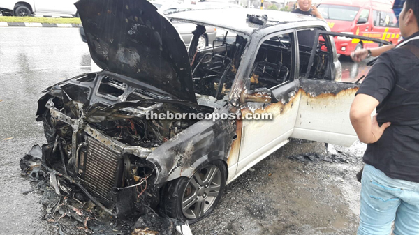 The condition of the Perodua Kelisa after the fire was put out by Bomba personnel.