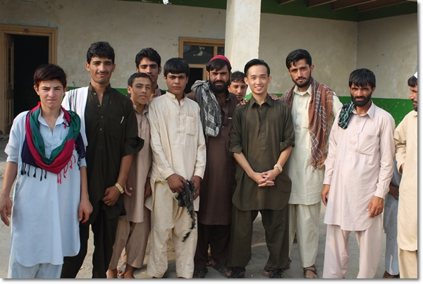 Chris with the local Afghans back in 2013 during his short visit to Afghanistan.