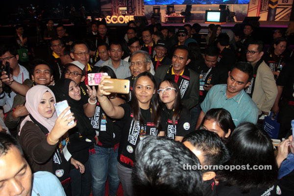File photo shows Adenan at a recent gathering with the people.