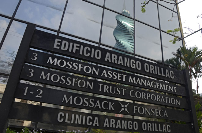 View of a sign outside the building where Panama-based Mossack Fonseca law firm offices are placed in Panama City. — AFP photo