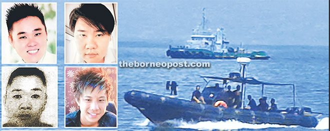 The tugboat has been held by Tawau Marine Police for investigation. (Inset, bottom) A file photo of the tugboat. (Clockwise from top left) Wong Teck Kang, Wong Teck Chii, Johnny Lau Jung Hien and Wong Hung Sing.