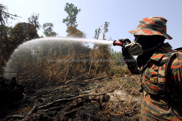 A fireman trying to put out the peat forest fire at at Kampung Sungai Ular. — Bernama photo
