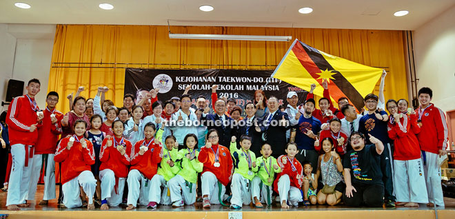 The Sarawakian contingent at the end of the Malaysia National Schools Taekwon-Do Championships.