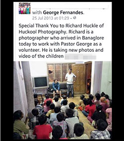 """Screenshot from a facebook page of an orphanage in India """"thanking"""" Hucker of his voluntary service."""