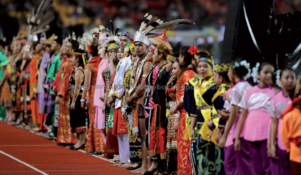 Performers in traditional costumes. — Bernama photo