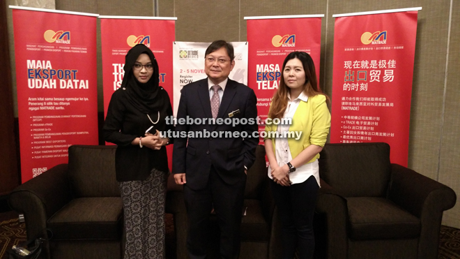 Abu Bakar is seen with Matrade Sarawak director Leany Mokhtar and Elite Sales and Marketing director Celeste Lim after the press conference.