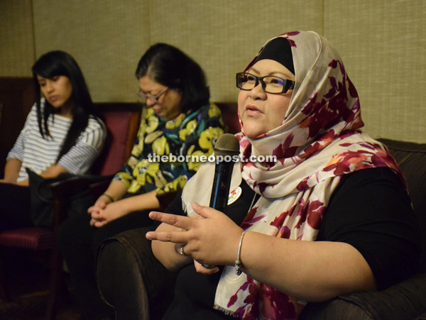 Eneng speaks during the briefing at Hilton Hotel in Kuching.