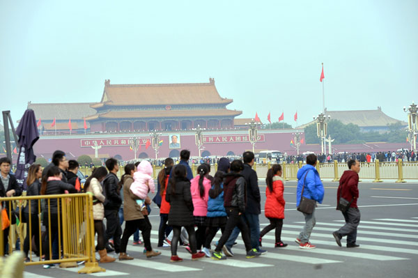 People visiting Tiananmen Square in Beijing. Najib is to begin a six-day visit to China today. — Bernama photo