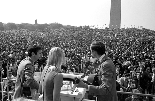 Peter, Paul and Mary singing Bob Dylan's Blowin' in the Wind on the steps of the Lincoln Memorial, a few hours before Martin Luther King delivered his famous 'I have a dream' speech in 1963.