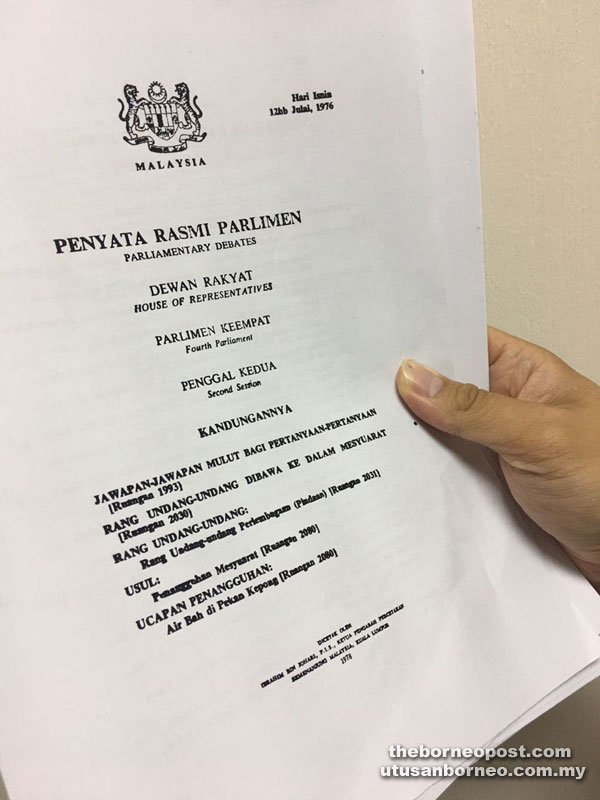 A cover snapshot of a 1976 Parliamentary Debates on the Bill tabled by Datuk Hussein Onn.