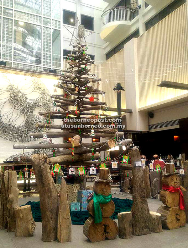 Hyatt Regency Kinabalu has created 14 Christmas trees and other decorations with driftwood and biodegradable materials