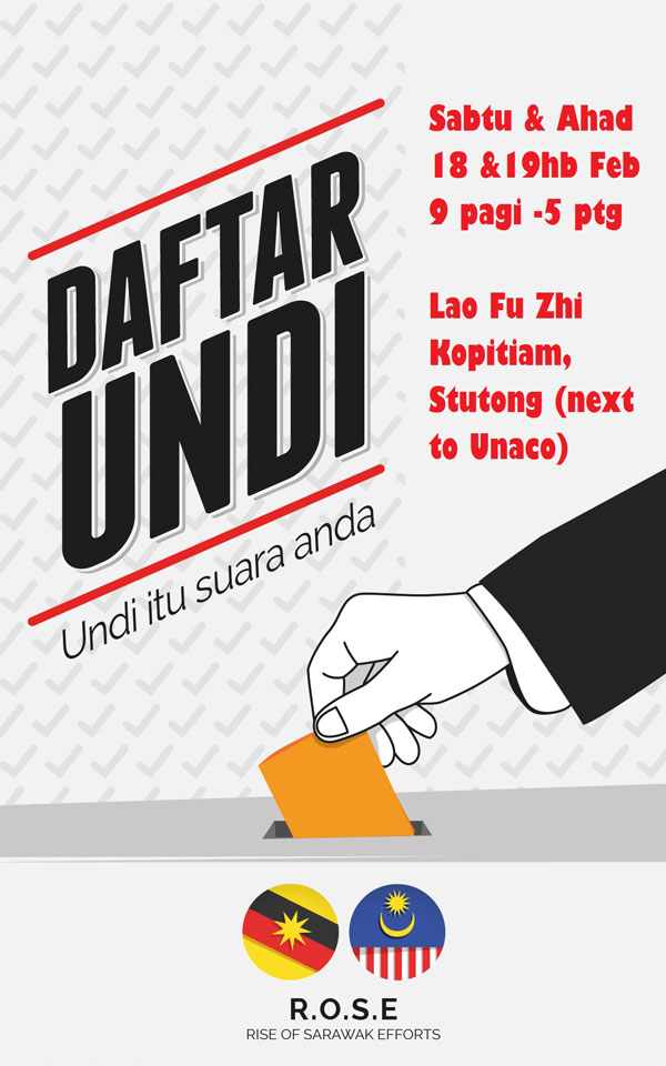 A poster of ROSE' voter registration drive