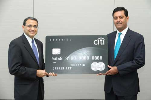 PRESTIGE: Anand Cavale (left) and Sanjeev Nanavati, Citibank Berhad  CEO at the launch of the Citi Prestige Card.