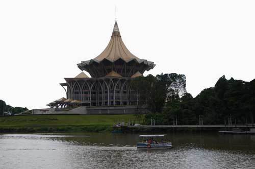 PROMINENT: One of the most imposing features along Sungei Sarawak is the State Assembly Complex opened in July, 2009.