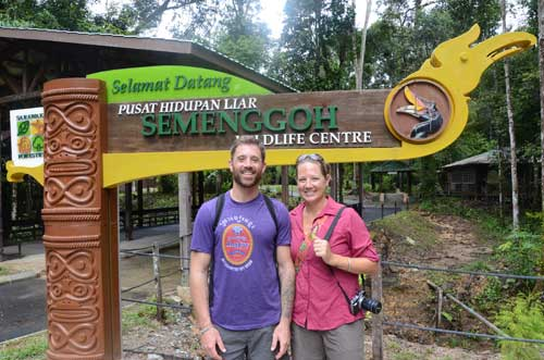 UNIQUE EXPERIENCE: American couple Roger (left) and Denise were among the many tourists who visited the Semenggoh Wildlife Centre.