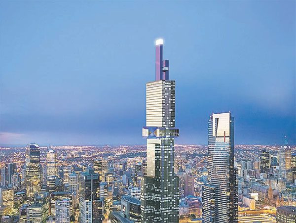 ANOTHER RECORD: An artist's impression of the yet to be built 108-storey 'Australia 108' building (centre) — AFP photo