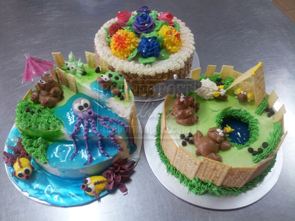 IMAGINATIVE Cakes With Various Animal Piping And Flower Decoration Made At The Centre