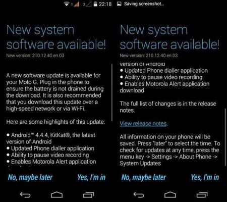 Motorola Moto G Malaysia gets Android 4 4 4 update | Borneo Post Online