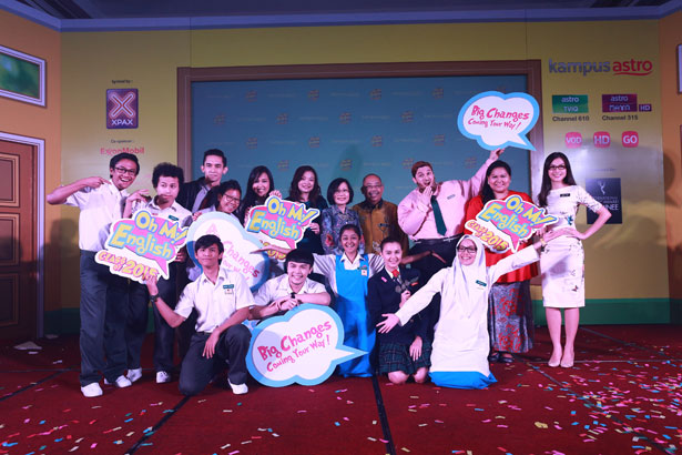 The cast of Oh My English! pose with Astro executives and media partners during the launch of the 2015 season last week.