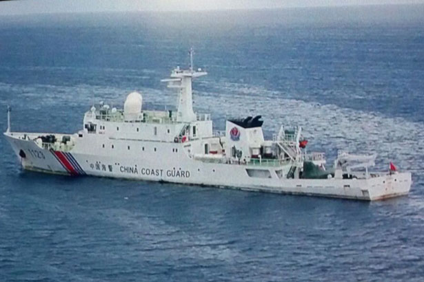 Photo shows the China Coast Guard vessel, which has been anchored in Gugusan Beting Patinggi Ali for about two years.