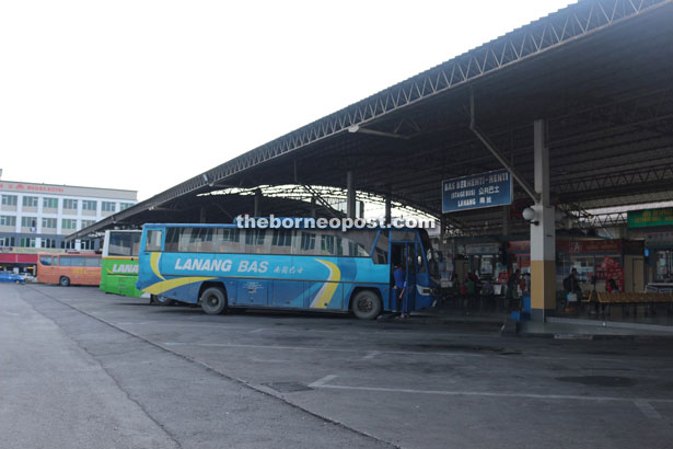 Buses lining up at the town's regional terminal.