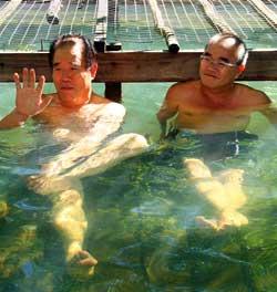 Chung (left) and Bong enjoying the hot spring.