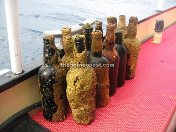 Some of the wine bottles salvaged from the ship.