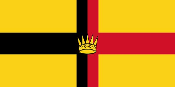 The flag of the Kingdom of Sarawak with a five-pointed crown located in the centre, was used between 1948 and 1973.
