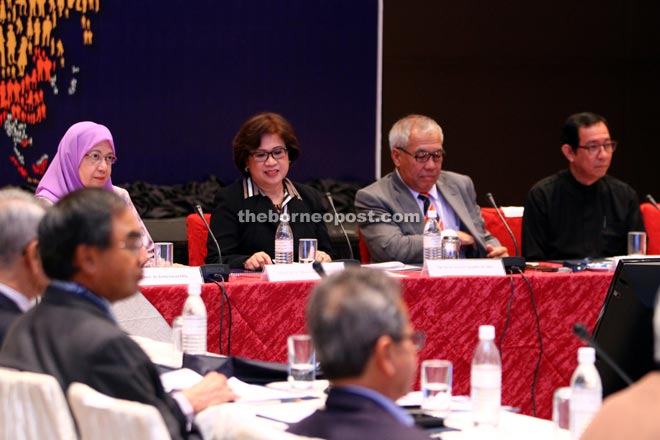 (From left) Asma, Noorul Ainur, Ahmad Tajuddin and Dzulkifli at the Global R&D Leaders and CEOs Forum 2015 yesterday. — Photo by Chimon Upon