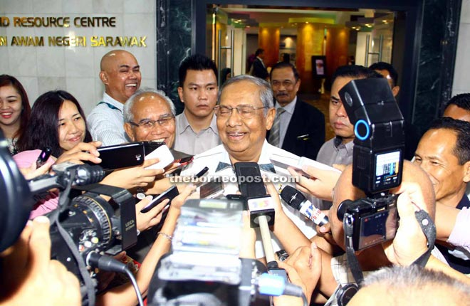 Adenan fields questions from the press. — Photo by Chimon Upon