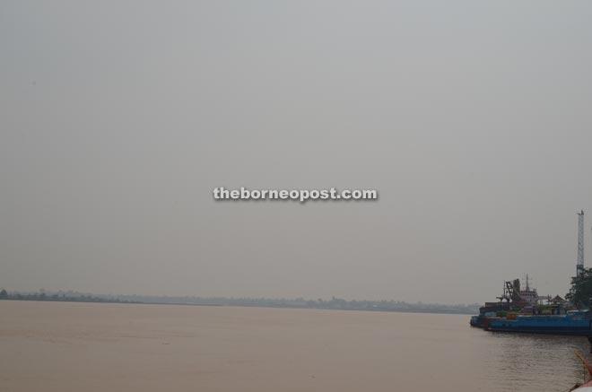 Rajang River was enveloped in haze yesterday.