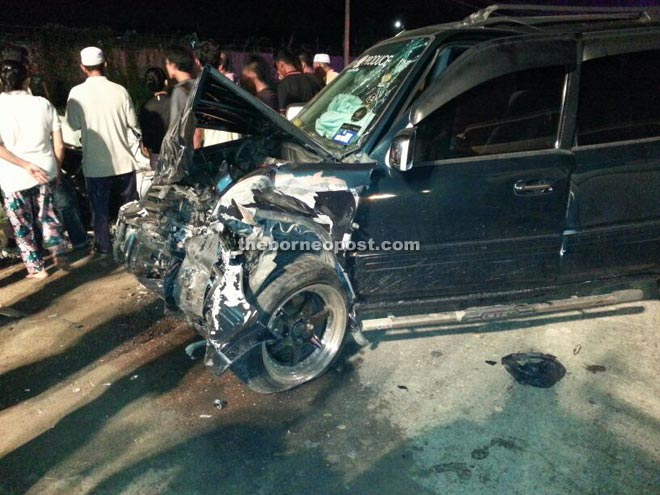 The Honda CRV that suffered frontal damage following the collision.