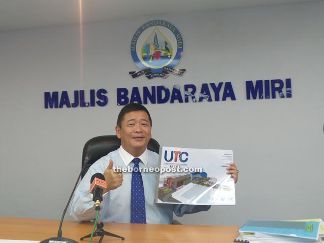 Lai shows an artist impression of the approved UTC Miri.