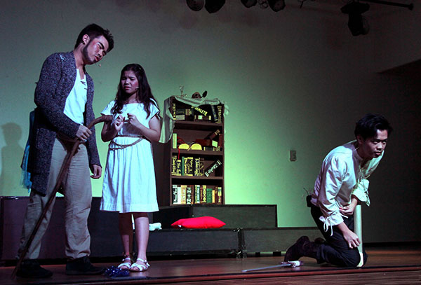 Miranda pleads for mercy for Fernando (right) but Prospero will have none of it.