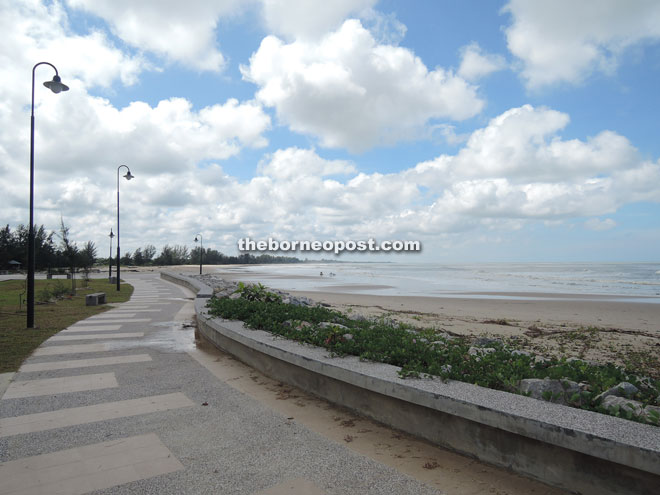 The concrete walking and jogging path along the beach area is among the infrastructure implemented for the beach beautification  project.