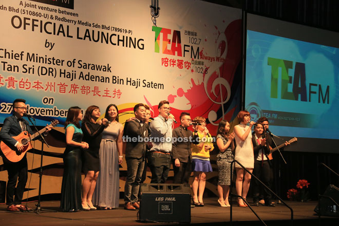 Tea FM staff members and singers perform together during one of the segments.