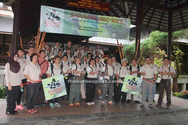 Participants in this year's Sarawak Bird Race prior to the flag-off.