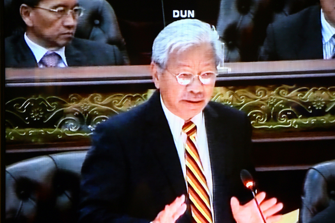 Masing is seen in a screen grab tabling a motion calling on the state government to be fully committed in safeguarding the special interest of the state at the State Legislative Assembly (DUN) yesterday. — Photo by Muhammad Rais Sanusi