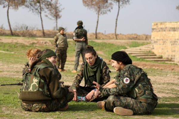 "The ""Female Protection Forces of the Land Between the Two Rivers'"" first major action was alongside the Syrian Democratic Forces, a coalition of Kurdish, Arab and Christian fighters, which recently recaptured the strategic town of Al-Hol. -AFP Photo"