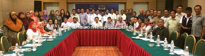Ripin (seated, centre) at the meeting with PBB Lambir members.
